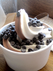 Soft-serve Vegan Twist Ice Cream with chocolate chips from Erin McKenna's Bakery